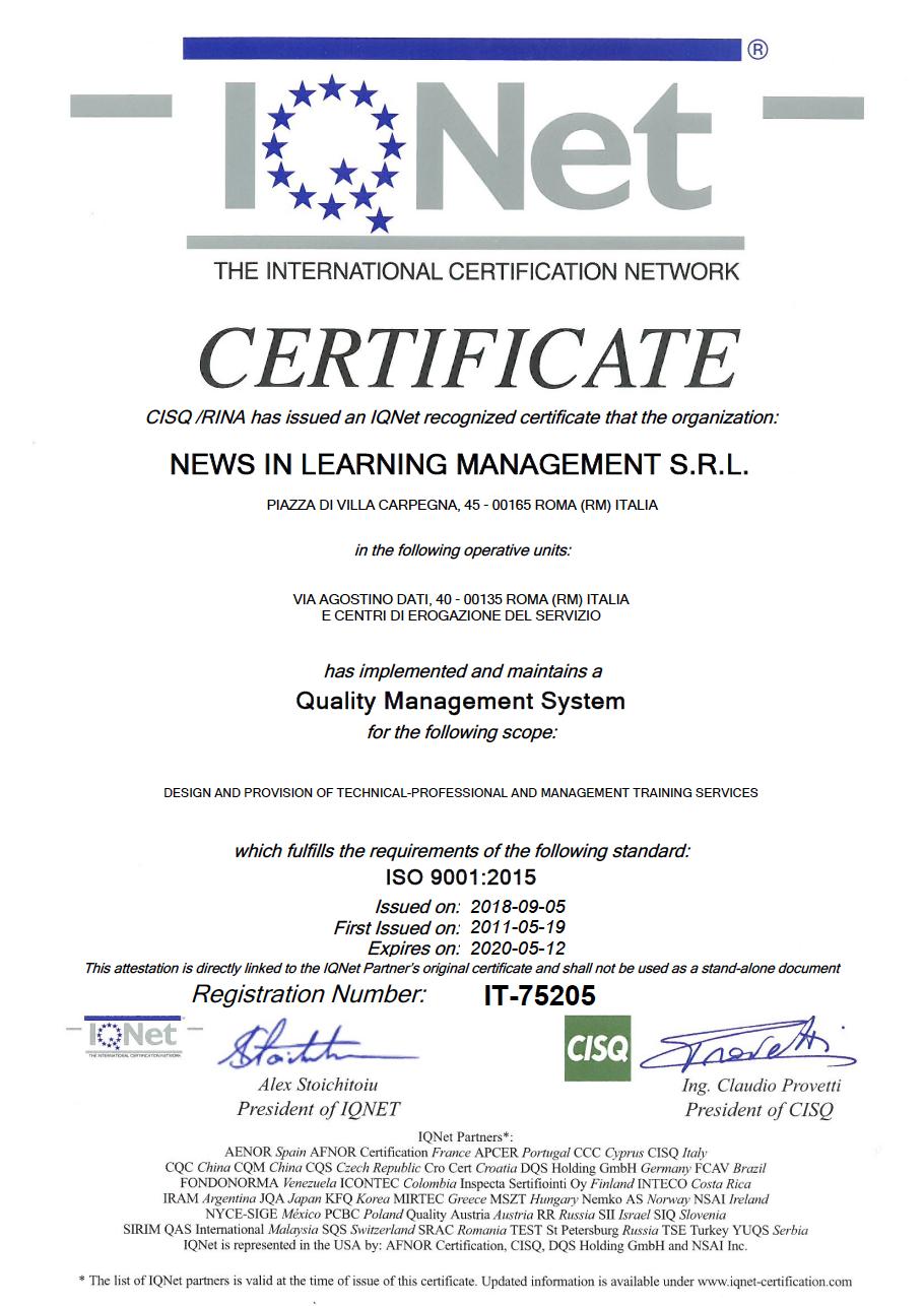 NILMAN Certificato Iqnet